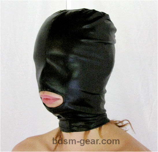 Latex Bondage Hood with Mouth Hole