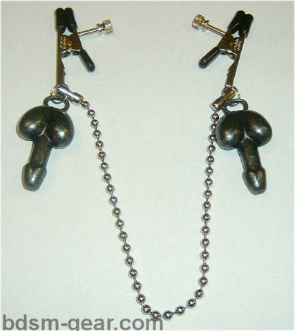 nipple clamps with 1 oz penis weights