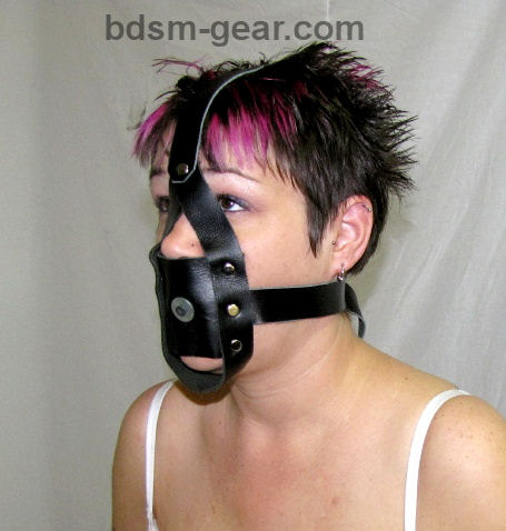 Leather Slave Training Post Gag with Head Harness