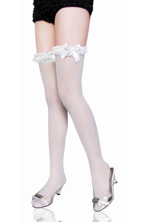 how to wear thigh high stockings with garter