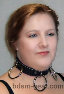 triple o-ring collar for human submissive and slave bondage bdsm fetish gothic gorean and punk