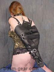 leather arm binder bdsm fetish gothic gorean submissive and slave bondage