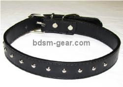 Studded Black Leather Collar