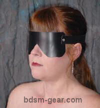 black leather blindfold for bdsm fetish gothic gorean submissive and slave bondage