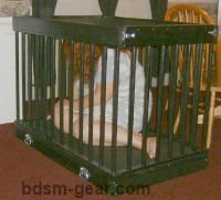 deluxe wood and leather human slave cage