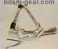 beautiful silver chrome metallic leather floggers bondage fetish bdsm
