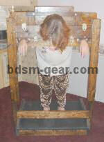deluxe wood and leather stockade dungeon stock furniture for bondage bdsm fetish gothic gorean submissive and slave