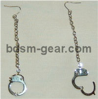 pewter handcuffs earrings for bdsm fetish gothic gorean bondage lifestyle slave or submissive