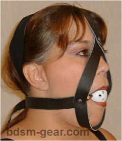 white plastic hole filled ball gag with head harness for bdsm fetish gothic gorean submissive and slave bondage