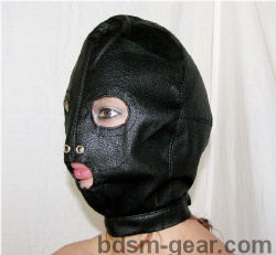 Leather Hood with Eyes and Mouth