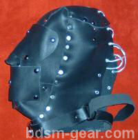 deluxe leather hood with gag and blindfold