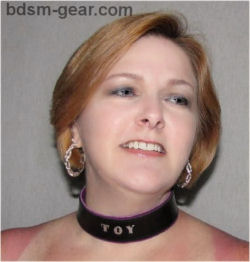 Stamped personalized black leather human collar