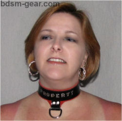 stamped and painted personalized black leather slave collar