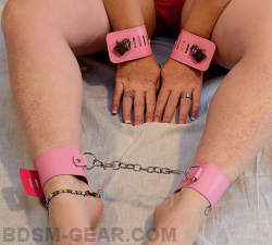 Pink Faux Leather Cuffs