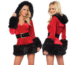 Red and Black Naughty Santa Costume