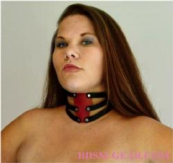Sexy 3 Strap Red And Black Leather Collar
